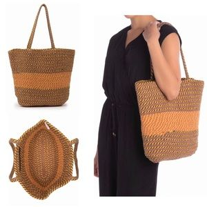 Luxury Braided Woven Tote Bag NWT Muted Red/Yellow